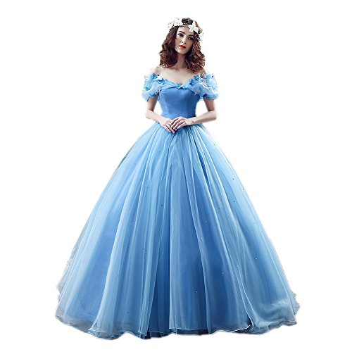 Ikerenwedding Women's Organza Cosplay Cinderella Dress Long Quinceanera Dress Ball Gown Blue US16