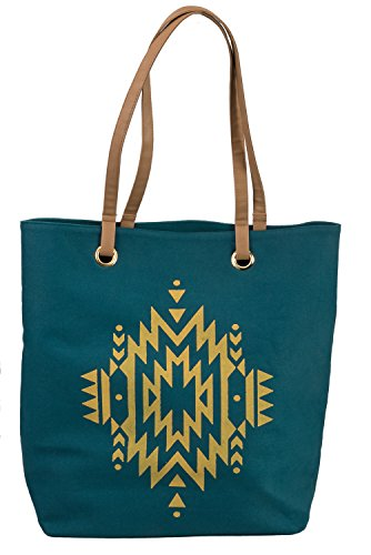 Avenue Leather Tote - Agency Avenue Large Teal Canvas Tote Shoulder Bag with Aztec Pattern