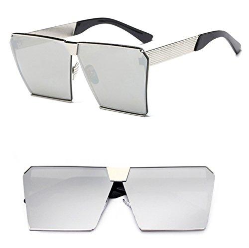 Women's Sunglasses Silver solar ZQ with Net Personalidad Sunglasses Red Espejo Large Glasses Moda Hombres Square Frame ng1Uqwvq