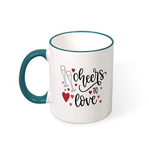 DKISEE Cheers To Love Color Coffee Mug Novelty 11oz Ceramic Mug Cup Birthday Christmas Anniversary Gag Gifts Idea