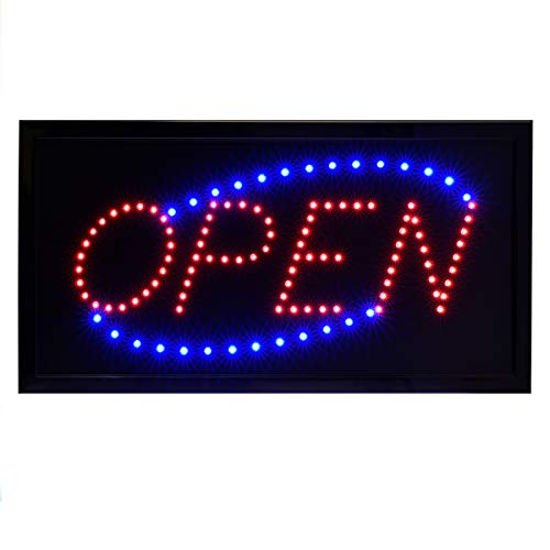 Alpine Industries LED Open Neon Sign for Business - Electronic Lighted Board w/Flash & Steady Mode - Provides Classy Techno Display - for Shops & Cafes (Square, 19
