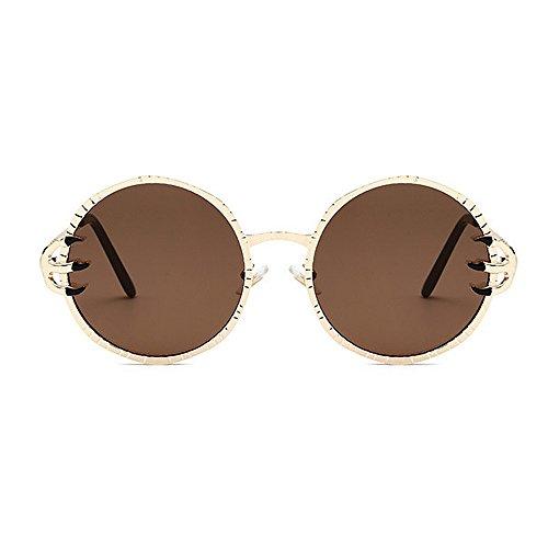 Metal sol Cool redondo de mujeres Garra PC Viajar lente Frame Decoración Gafas sol Style Unisex Punk de gafas conducir Retro hombres Gafas para sol de Marrón esqu Protección de Wolves UV y retro Gafas para xYwZzA6q