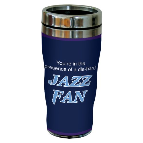 (Tree-Free Greetings sg24168 Jazz Basketball Fan Sip 'N Go Stainless Steel Lined Travel Tumbler, 16-Ounce)