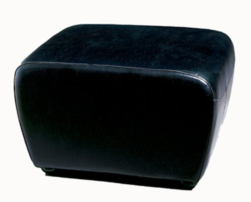 Baxton Studio Full Leather Ottoman, Black (Black Leather Ottoman Small)