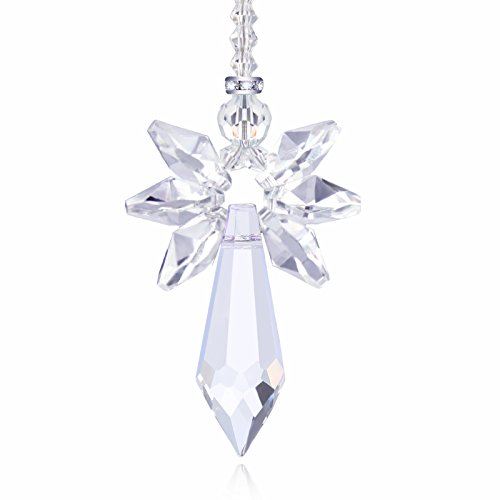 Anna Crystalworld Rainbow Guardian Angel Crystal Suncatcher for Home/Car Decoration & Porch Decor & Hangings Crystal Glass Ornament (Clear)
