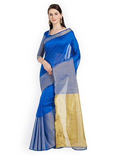 Gold Export amp; Indian Saree toned Florence Blue Women Handicrfats Solid YpH5Hq1