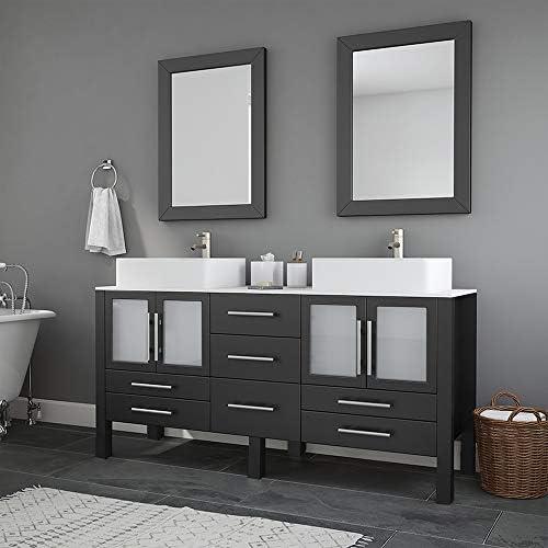 63 Inch Wood Porcelain Double Sink Bathroom Vanity Set- Moniteau Brushed Nickel Faucets