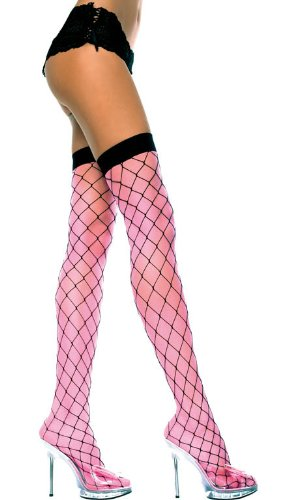 25ae3ba1e Music Legs Fence Net Thigh Highs with Sheer Lining Hot Pink Pink One Size  Fits