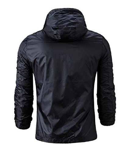 Drawstring Colored Zip Full Jacket Hoodie Black Mogogo Solid Outwear Mens FOfwxqY