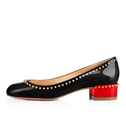 pisos de en remache zapatos charol Ciel bajos las redonda Arc punta NegroRojo mujeres de talón tdqA88w