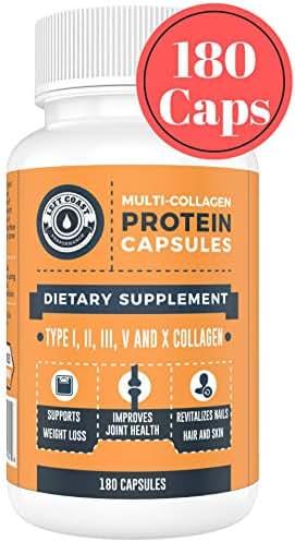 Multi Collagen Caps (Collagen Capsules 1 2 3 5 10) - 180 Count Collagen Peptide Pills. Grass Fed Bovine, Chicken & Eggshell Collagen Capsules Protein Supplement