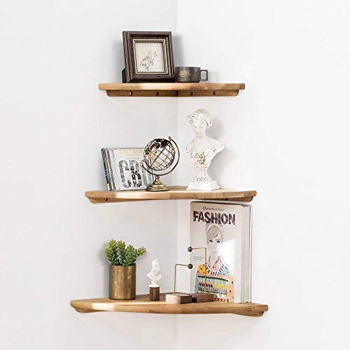 Bathroom Oak (Wooden Corner Shelf,1 Pcs Sunlife Round End Hanging Wall Mount Floating Shelves Bookshelves Bathroom Display Rack (Oak, 12in))