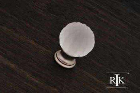 - RK International CK 1G-P Smoked Glass Flower Knob - Satin Nickel/Pewter