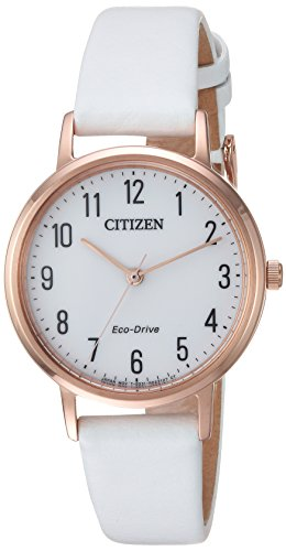 Citizen Women's 'Eco-Drive' Quartz Stainless Steel and Leather Casual Watch, Color:White (Model: (Citizen White Wrist Watch)