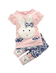 2pc Suit Baby Kids Girls Boys Toddlers Cute Rabbit Top+short Pants Set Clothes