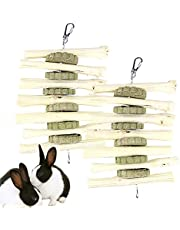 Bunny Chew Toys,2 Pack Pet Snacks Chew Toys Sweet Bamboo with Grass Cake Chew Toys for Bunny, Rabbits, Chinchilla, Guinea Pigs, Hamsters, Parrots Other Small Animals (2 Pack- Sweet Bamboo)