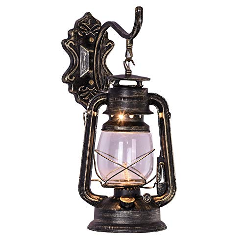 INJUICY Kerosene Wall Lantern Light, Vintage Metal & Glass Wall Sconce Lights for Bedroom Living, Dining Room, Cafe Bar, Hallway Décor