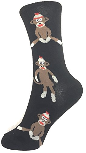 Socks-Women Crew Novelty Comfy Cozy, Trendy, Fashionable and Fun Patterns To Love (SOCK MONKEY-BLACK)