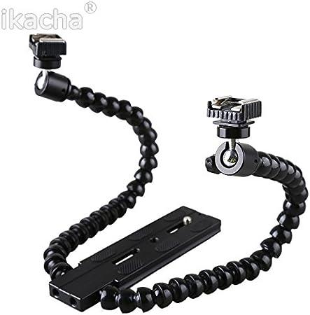 AkoMatial Portable Durable Dual-arm Flexible Flash Light Holder Bracket Accessories for Macro Shot Camera