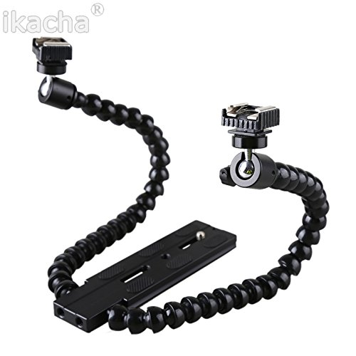 ikacha Flexible Dual/ Twin-Arm/Hot Shoe Flash Bracket For Canon Nikon Pentax Macro Shot by ikacha