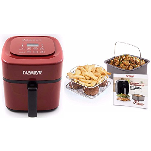 NuWave Brio 6 Quart Digital Air Fryer with NuWave Brio Air Fryer 3 Piece Gourmet Accessory Kit - 6 Quart (Red)
