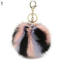 GlobalDeal Multi Color Faux Fur Fluffy Ball Key Chain Car Keyring Bag Hanging Pendant Gift - 5#