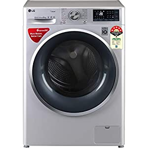 LG 8 kg 5 Star Inverter Wi-Fi Fully-Automatic Front Loading Washing Machine (FHT1408ZWL, Luxury Silver, Steam)