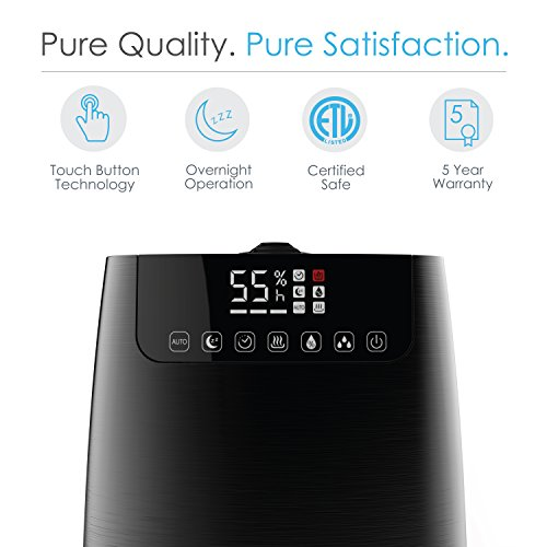 HumeXL Pro - Warm & Cool Mist Humidifier with Large, Easy-to-Clean 5-Liter/1.3 Gallon Water Tank, Humidity Sensor, Two 360° Rotating Mist Nozzles, Touch-Button Control, LED Display and Remote Control