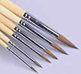XDT 966 Mini Highlighter Paint Brush Artist Pin Point Painting Brushes Set 6 Piece Mixed Red Sable Weasel Hair #1#3#5#7#9#11, Fine Detailing & Rock Painting, Acrylic Watercolor Oil Art, Scale Models.