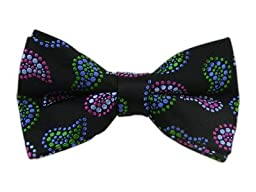 100% Woven Silk Black, Pink and Green Spotted Paisley Self-Tie Bow Tie