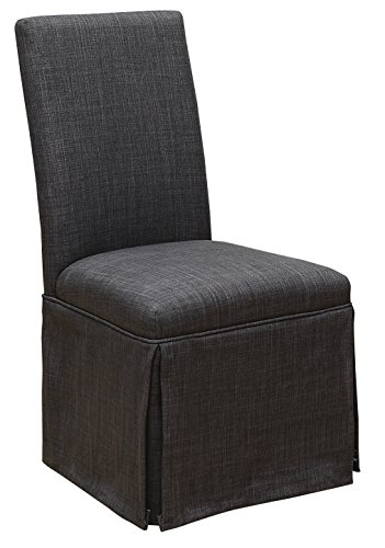 (HOMES: Inside + Out IDF-3341DG-SC Furniture of America Chamberlain Side Chair (Set of 2), Dark Grey)