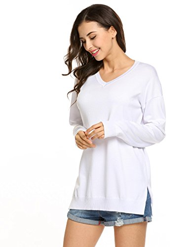 Women's Sexy Long Batwing Sleeve Loose Pullover Casual Top Blouse T-Shirt,White-L