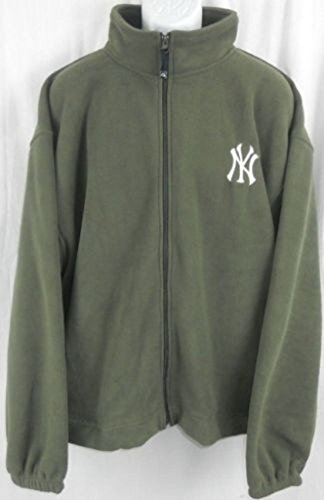 Majestic New York Yankees MLB Mens Embroidered Logo Full Zip Olive Green Fleece Big Sizes (2XL)