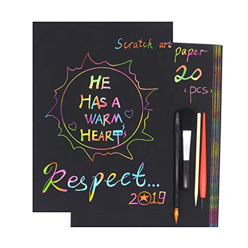 Rainbow Sketch Paper,DIY Creative Draw,Magic Hand-Cut Paper by BOTTEN Black Paper with Rainbow Background,Scratch Art for Adult and Kids,with 4 Tools,Size:11.7''x8.3''(A4/20pcs) ()