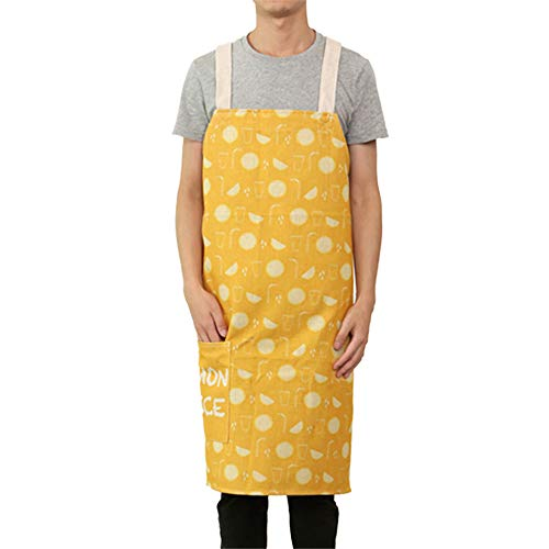 YXDZ Kitchen Baking Apron Cotton Linen Thickening Waist Korean Fashion Cute Men and Women Anti-Oil Smock Sleeveless C Large 8789Cm