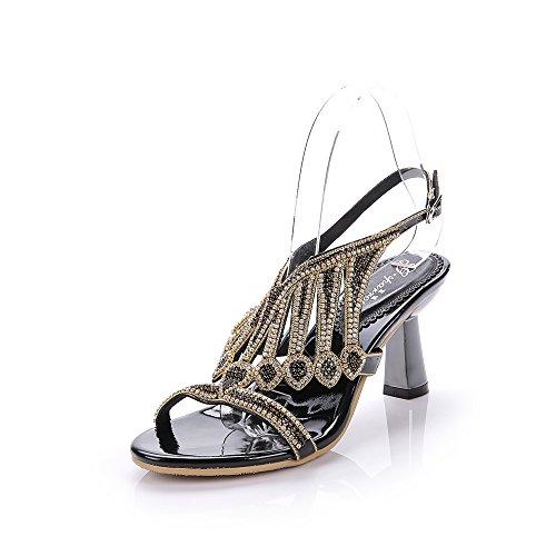 Geminigirl Women's Waterfall Patterned Rhinestone Chunky Heels Sandals Wedding Bridal Shoes Black 9 M US