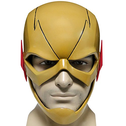Reverse Flash Costume (XCOSER Reverse Flash Mask Helmet Props for Adult Halloween Costume PVC Fancy)
