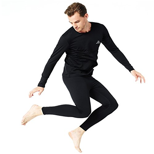(TFO Men's Ultra Soft Thermal Underwear Sets Long Johns Base Layer Top & Bottom with Fleece Lined Black)