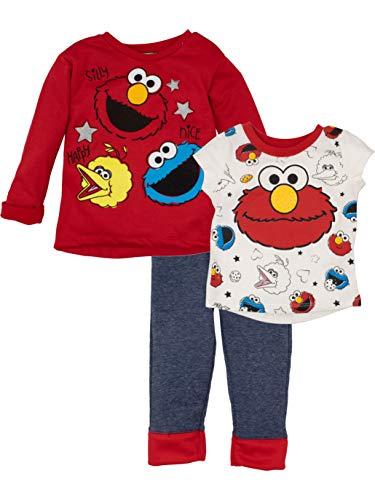 Sesame Street Baby Girls' 3 Piece Long Sleeve Fleece Top, T-Shirt & Pants Set, Red (18 Months)