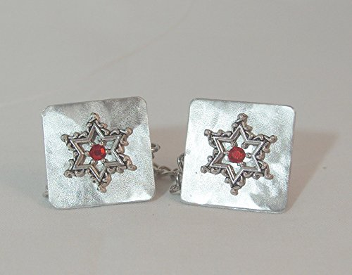 Lacy Star with Red Crystal Tallit Clips