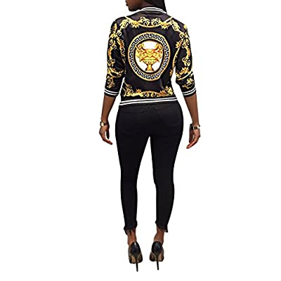 MS Mouse Womens Fashion Vintage Gold Chain Print Short Bomber Jacket Coat: Clothing