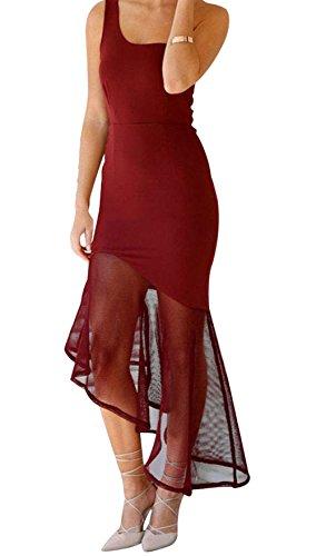 FQHOME Womens Burgundy Asymmetrical Fishtail Semi-sheer Hem Maxi Dress Size L