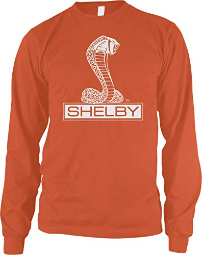 Amdesco Men's Shelby Cobra Logo Long Sleeve Shirt, Orange 2XL