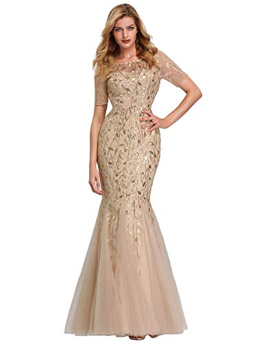 Women's Long Prom Dress Mermaid Lace Wedding Gown Evening Dress Gold US16