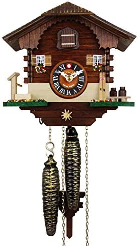 Loetscher Authentic Swiss Handcrafted Cuckoo Clock – The Ski Chalet Themed Traditional Weight Driven One Day Clock