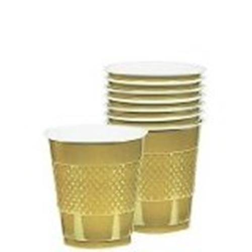 Gold Sparkle Plastic Drinking Cups 9oz 20 Ct. Cocktail Size