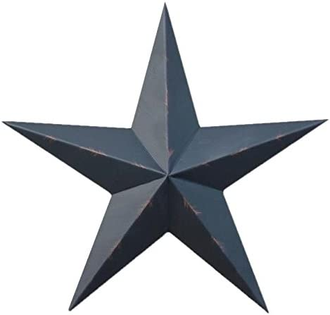 "Set of 3 12/"" BURGUNDY BLACK BARN STARS Metal Tin  Primitive Country"