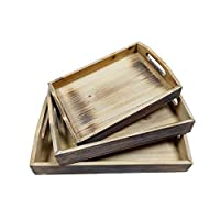 Whitewash Brown Wood Nesting Breakfast Serving Trays, 3 Piece Decorative Display Tray Set