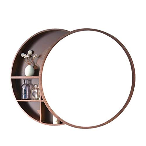 - Bathroom Mirror,Round Cabinet Wall Storage Cabinet Sliding Mirror Medicine Cabinet with Steel Gliding Stainless Wooden Frame (Color : Walnut Color, Size : Ø50CM)