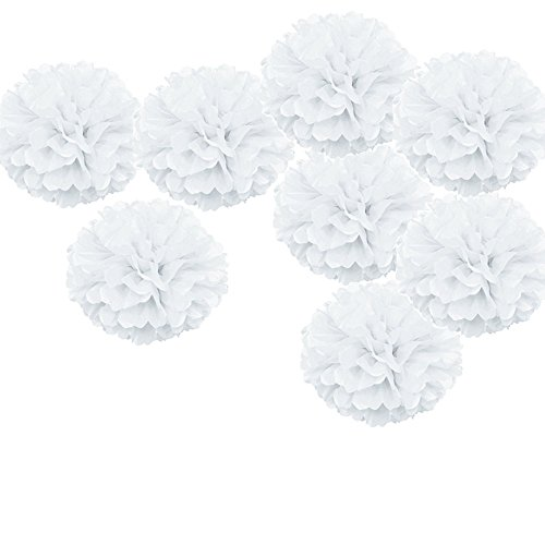 X-Sunshine Party Pom Poms Tissue Paper Flower 8pcs 12 inch Decorative Hanging Flower Balls Craft DIY Decoration for Home Wedding, Baby Shower, Birthday, Party Decorations (12inch-8pcs, White)